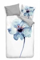 Blume Blau Wasserfarbe Bettwäsche Set 135x200 cm + 80x80cm  Atmungsaktiv