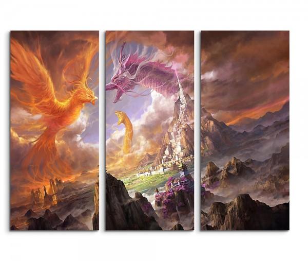 Phoenix Dragon And The Snake Fantasy Art 3x90x40cm Sinus Art