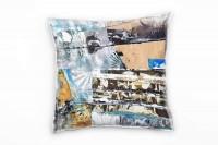 Couch Sofa Lounge Zierkissen in 40x40cm Picasso Himmelblau Lichtgrau Terrabraun