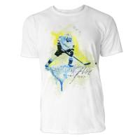 Eishockeyspieler mit Puck Sinus Art ® T-Shirt Crewneck Tee with Frontartwork