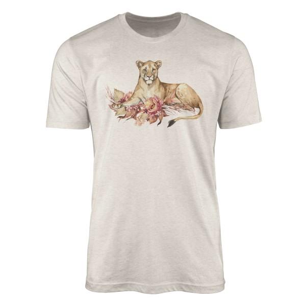 Herren Shirt 100% gekämmte Bio-Baumwolle T-Shirt Aquarell Löwin Blumen Savanne Motiv Nachhaltig Öko