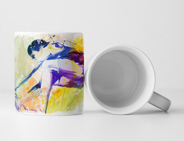 Weitsprung Tasse als Geschenk, Design Sinus Art