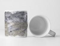 Tasse Geschenk graue Abstraktion, lange Aufschrift