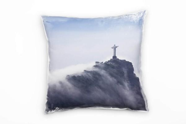 Urban Blau Grau Christi In Den Wolken Rio De Janeiro Deko Kissen