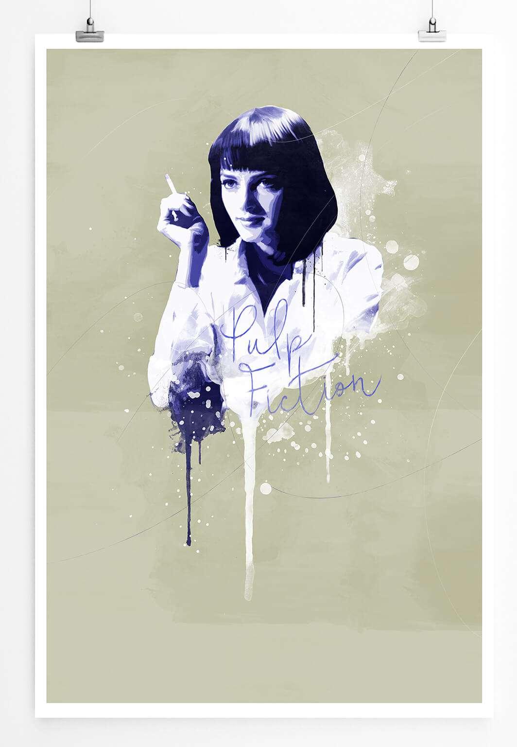 Pulp Fiction Mia Wallace 90x60cm Paul Sinus Art Splash Art Wandbild