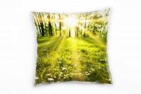 Frühling, grün, lichtdurchfluteter Wald Deko Kissen 40x40cm für Couch Sofa Lounge Zierkissen