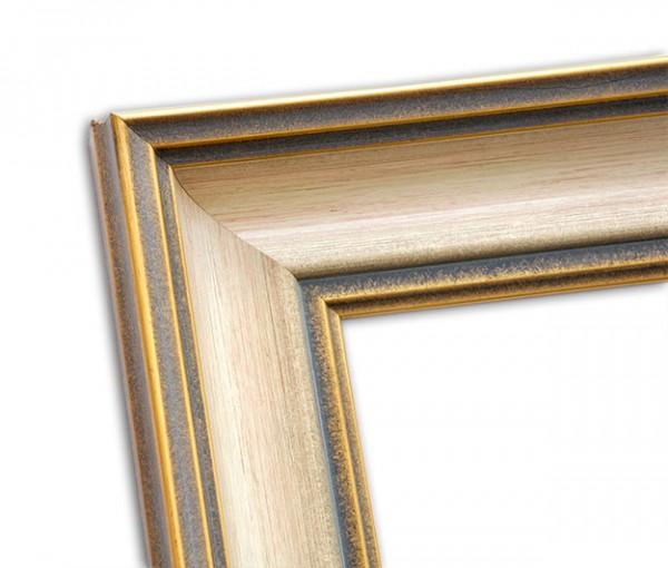 Antiker in Beige Altgold  und Grau abgesetzter Echtholzrahmen
