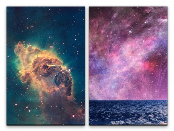 2 Bilder je 60x90cm Nebula Galaxie Fantasie Meer Horizont Sterne Zauberhaft