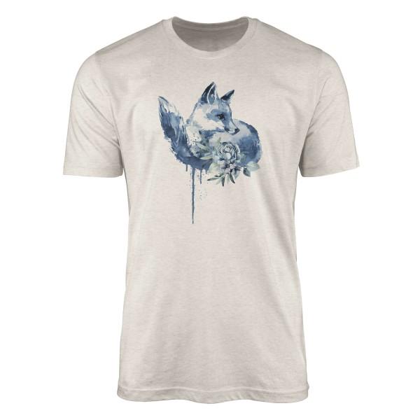 Herren Shirt 100% gekämmte Bio-Baumwolle T-Shirt Aquarell Fuchs Blüte Motiv Nachhaltig Ökomode aus