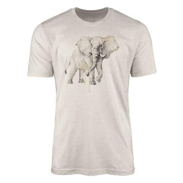 Herren Shirt 100% gekämmte Bio-Baumwolle T-Shirt Aquarell Elefant Motiv Nachhaltig Ökomode aus erne