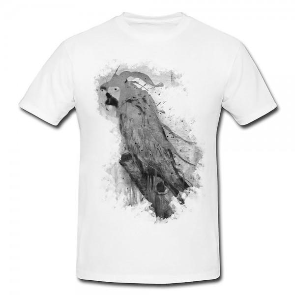 Splash of Parrot Herren und Damen T-Shirt BLACK-WHITE