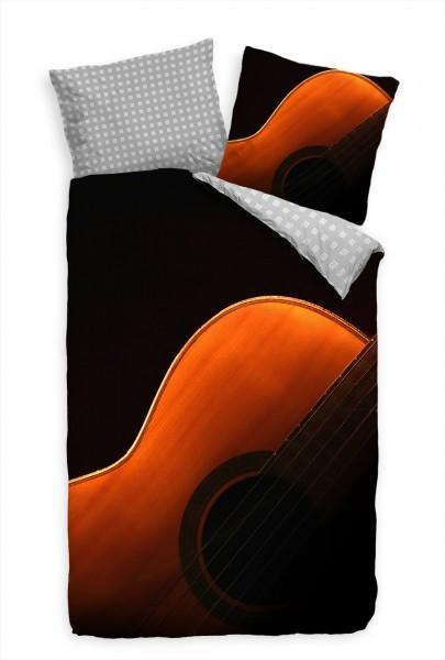 Gitarre Schwarz Instrument Makro Bettwäsche Set 135x200 cm + 80x80cm Atmungsaktiv