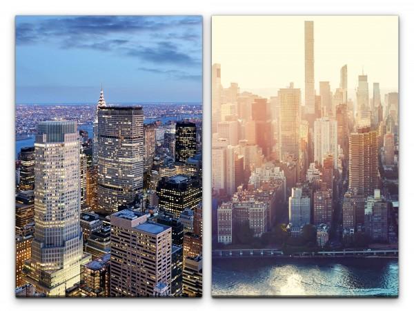 2 Bilder je 60x90cm New York Wolkenkratzer Manhattan USA Architektur Skyline Modern