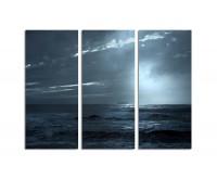 130x90cm schwarz-weiß Sonnenuntergang Meer düster