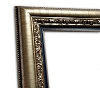 Exklusiver Echtholzrahmen Antik silber mit blauer Innenkante