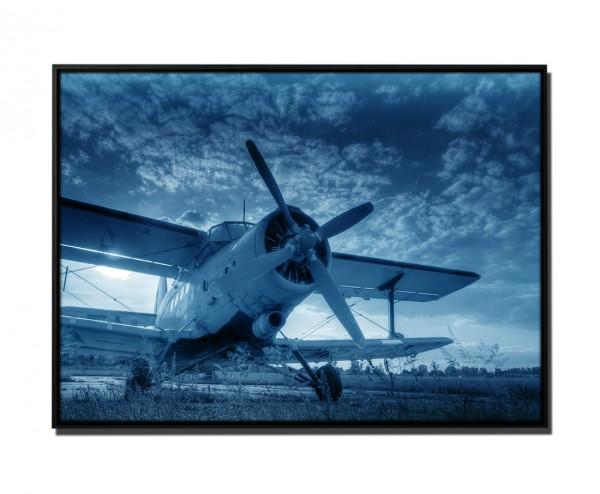 105x75cm Leinwandbild Petrol Altes Flugzeug Sonnenuntergang