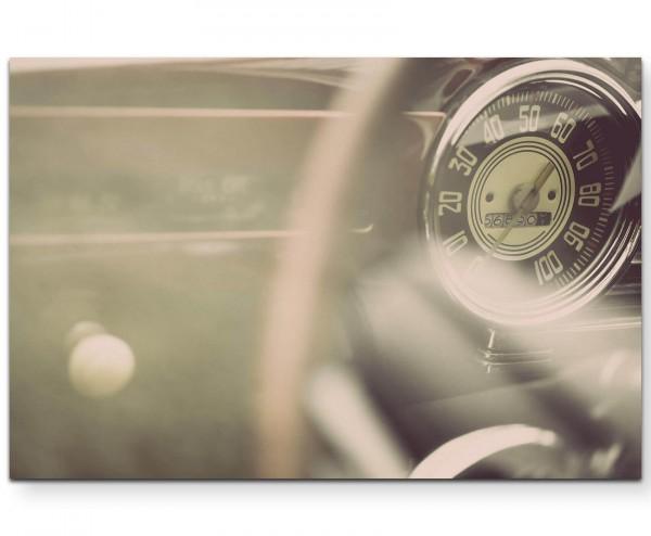Tachometer eines Vintage Autos - Leinwandbild