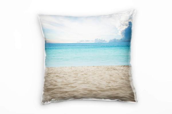 Strand Und Meer Beige Turkis Wolken Deko Kissen 40x40cm Fur Couch