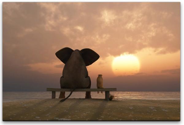 Elefant und Hund schauen in Sonnenuntergang Wandbild in verschiedenen Größen