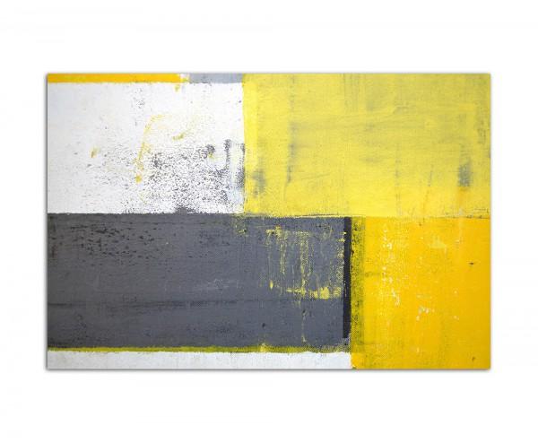 120x80cm Malkunst Kunstwerk grau/gelb abstrakt