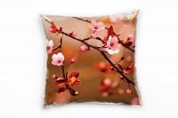 Blumen, rosa, braun, Kirschblüten, Nah Deko Kissen 40x40cm für Couch Sofa Lounge Zierkissen