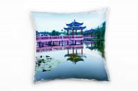 Urban, rosa, blau, grün, Pavillon, Asien Deko Kissen 40x40cm für Couch Sofa Lounge Zierkissen