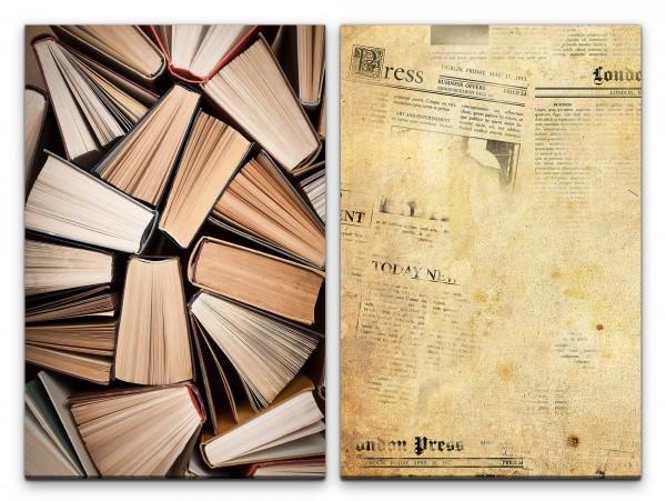 2 Bilder je 60x90cm Bücher alte Zeitung Bücherstapel Lesen Bibliothek Vintage Presse