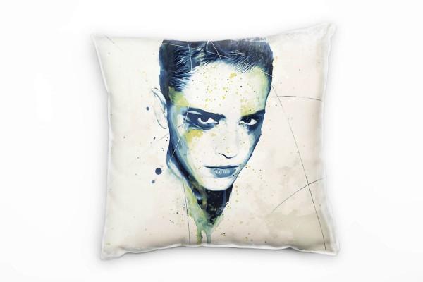 Emma Watson Deko Kissen Bezug 40x40cm für Couch Sofa Lounge Zierkissen