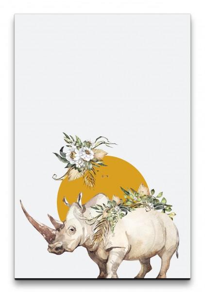 Nashorn Savanne Blumen Aquarell Schön Dekorativ Orange