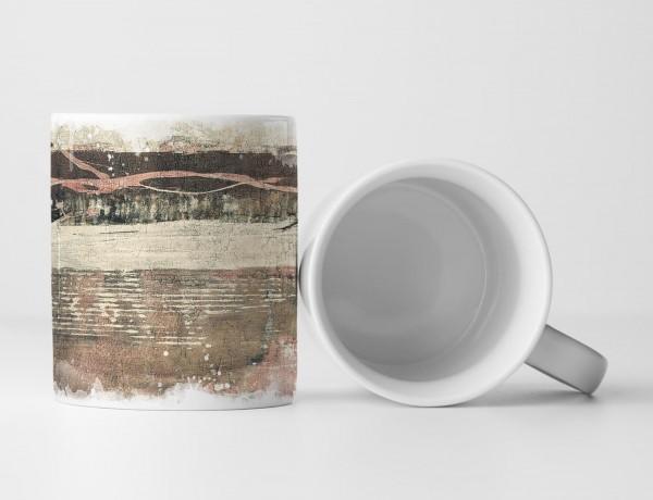 Tasse Geschenk antik-weiße, beige und braune Abstraktion