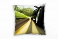 Urban, grün, gelb, schwarz, Auto, Geschwindigkeit Deko Kissen 40x40cm für Couch Sofa Lounge Zierkiss