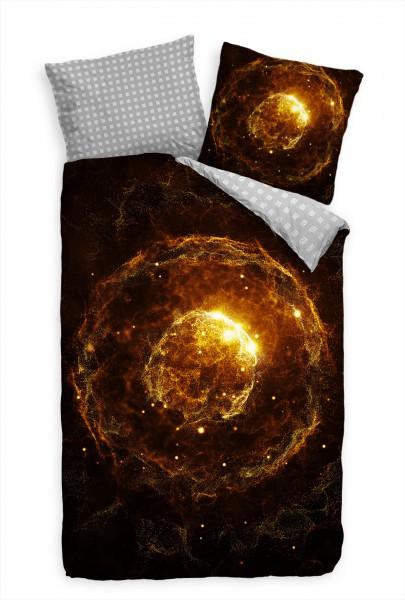 Abstrakt Partikel 3D Ball Gold Schwarz Bettwäsche Set 135x200 cm + 80x80cm Atmungsaktiv
