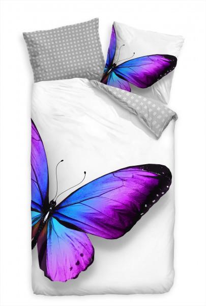 Schmetterling Blau Lila Brilliant Bettwäsche Set 135x200 cm + 80x80cm Atmungsaktiv