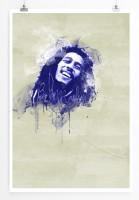 Bob Marley II 90x60cm Paul Sinus Art Splash Art Wandbild als Poster ohne Rahmen gerollt
