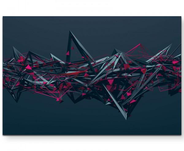 Abstrakte Illustration – chaotische Struktur anthrazit und pink - Leinwandbild