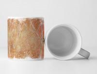 Tasse Geschenk orange, antik-gold , grauen Einkerbungen