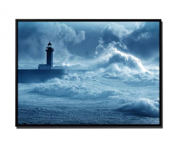 105x75cm Leinwandbild Petrol Leuchtturm im Sturm Portugal
