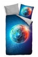 Erde Bunt Weltall Sterne Bettwäsche Set 135x200 cm + 80x80cm  Atmungsaktiv