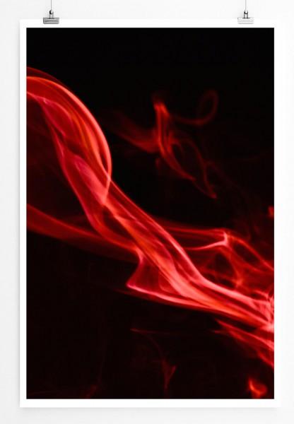 60x90cm Poster Künstlerische Fotografie – Roter Rauch vor schwarzem Hintergrund