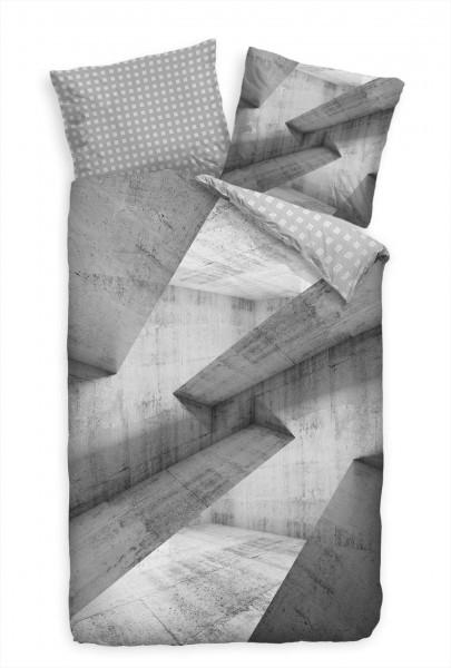 Abstrakt 3D Grau Beton Kunst Bettwäsche Set 135x200 cm + 80x80cm Atmungsaktiv