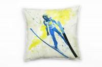 Ski Weitsprung Deko Kissen Bezug 40x40cm für Couch Sofa Lounge Zierkissen