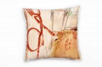 Couch Sofa Lounge Zierkissen in 40x40cm Rotorange Pastellorange Beige Frühlingsgrün