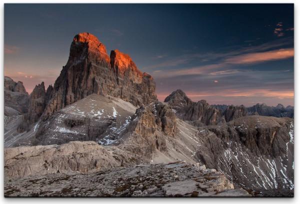 Sonnenstrahlen auf den Dolomiten Wandbild in verschiedenen Größen