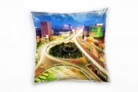 Urban und City, gelb, blau, Lichtlinien, Nachts Deko Kissen 40x40cm für Couch Sofa Lounge Zierkissen
