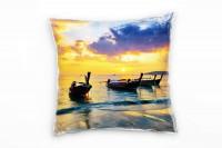 Strand und Meer, orange, blau, Boote, Sonnenuntergang Deko Kissen 40x40cm für Couch Sofa Lounge Zier