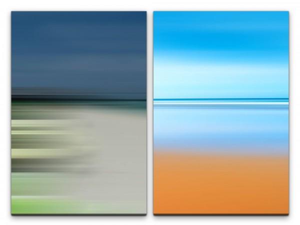 2 Bilder je 60x90cm Meeresblick Blau Orange Pastelltöne Horizont Abstrakt Still