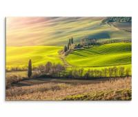 120x80cm Wandbild Italien Toskana Hügel Berge Wiesen Frühling