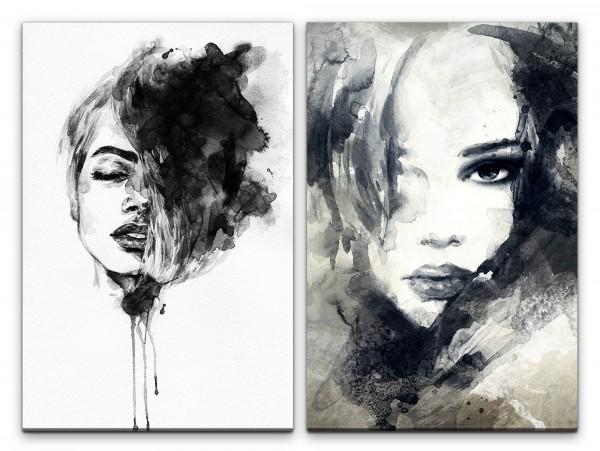 2 Bilder je 60x90cm Frauen Porträt Kunstvoll schönes Gesicht Sinnlich Schwarze Farbe Dekorativ Chic