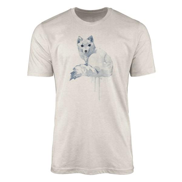 Herren Shirt 100% gekämmte Bio-Baumwolle T-Shirt Aquarell Polarfuchs Motiv Nachhaltig Ökomode aus e
