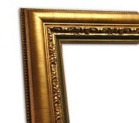 Exklusiver Echtholzrahmen Antik gold mit grüner Innenkante